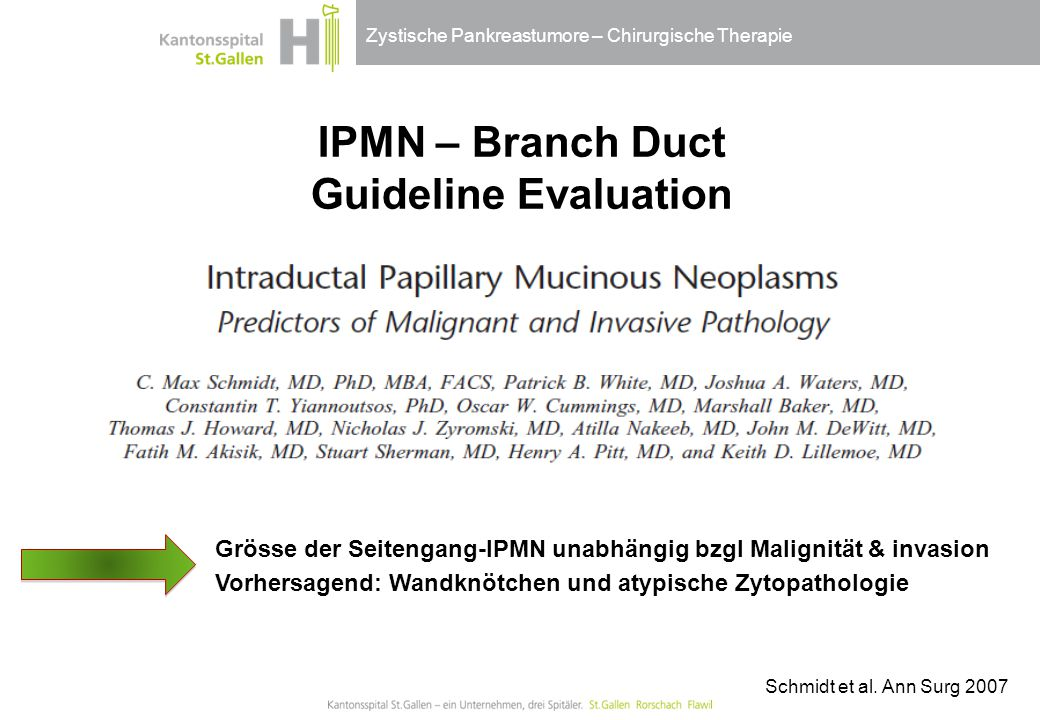 IPMN – Branch Duct Guideline Evaluation