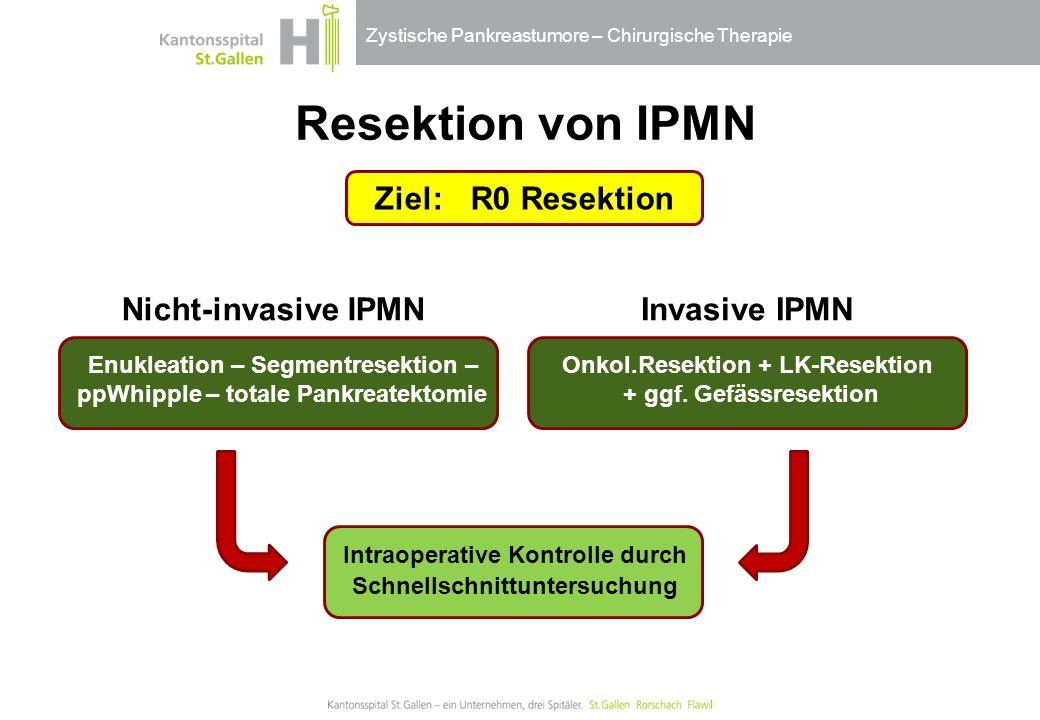 Resektion von IPMN Ziel: R0 Resektion Nicht-invasive IPMN