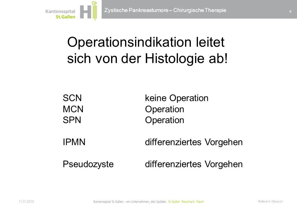 Operationsindikation leitet sich von der Histologie ab!