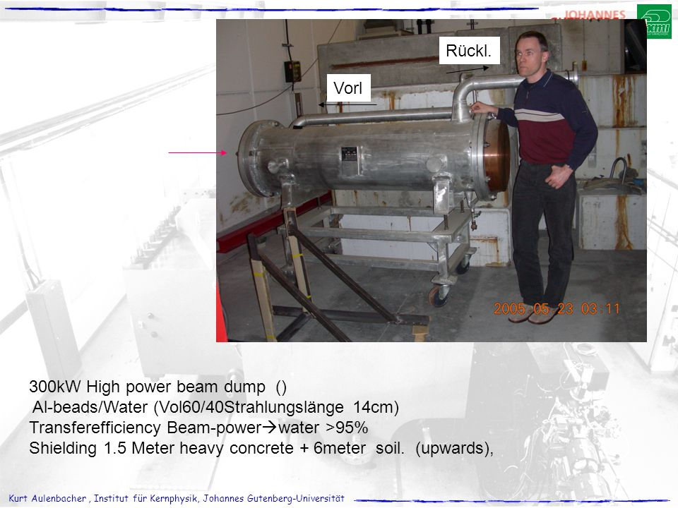 Rückl. Vorl. 300kW High power beam dump () Al-beads/Water (Vol60/40Strahlungslänge 14cm) Transferefficiency Beam-powerwater >95%