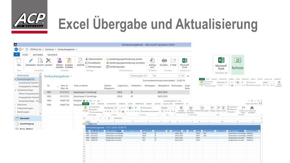 Excel Übergabe und Aktualisierung