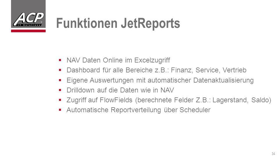 Funktionen JetReports