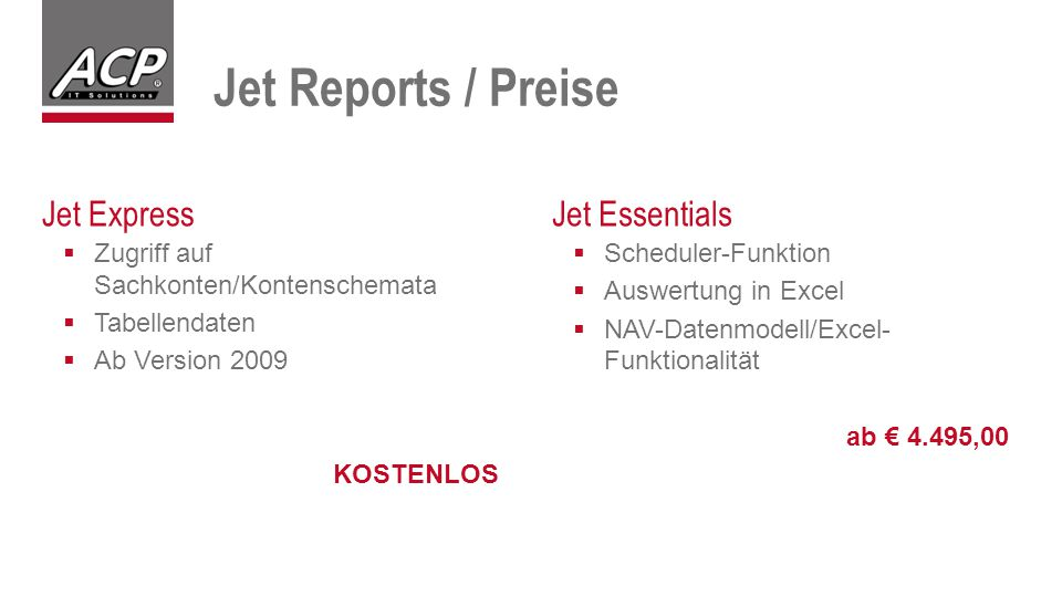 Jet Reports / Preise Jet Express Jet Essentials
