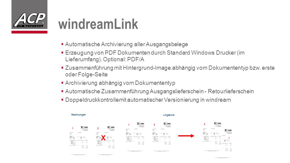 windreamLink X Automatische Archivierung aller Ausgangsbelege