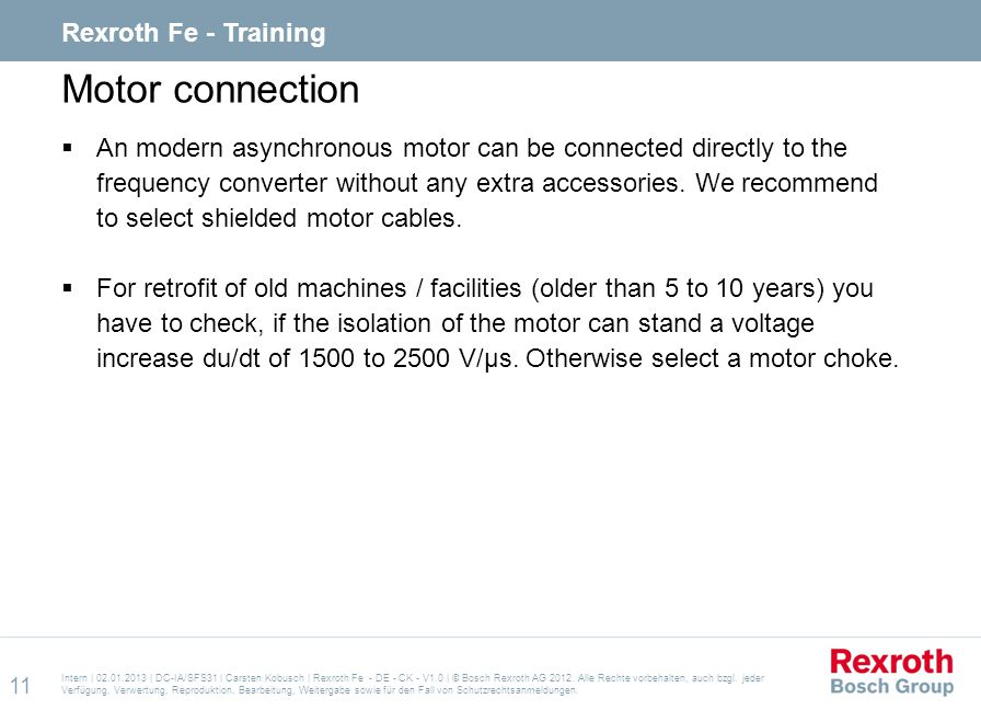 Motor connection Rexroth Fe - Training