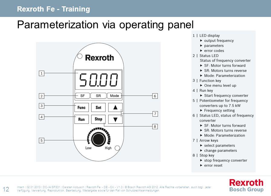 Parameterization via operating panel