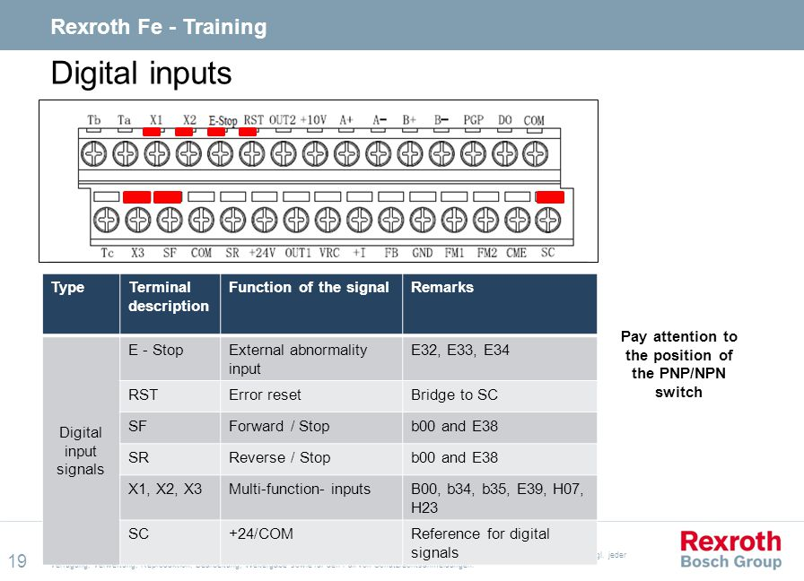 Pay attention to the position of the PNP/NPN switch
