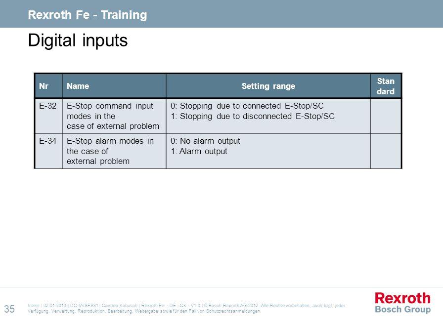 Digital inputs Rexroth Fe - Training Nr Name Setting range Standard