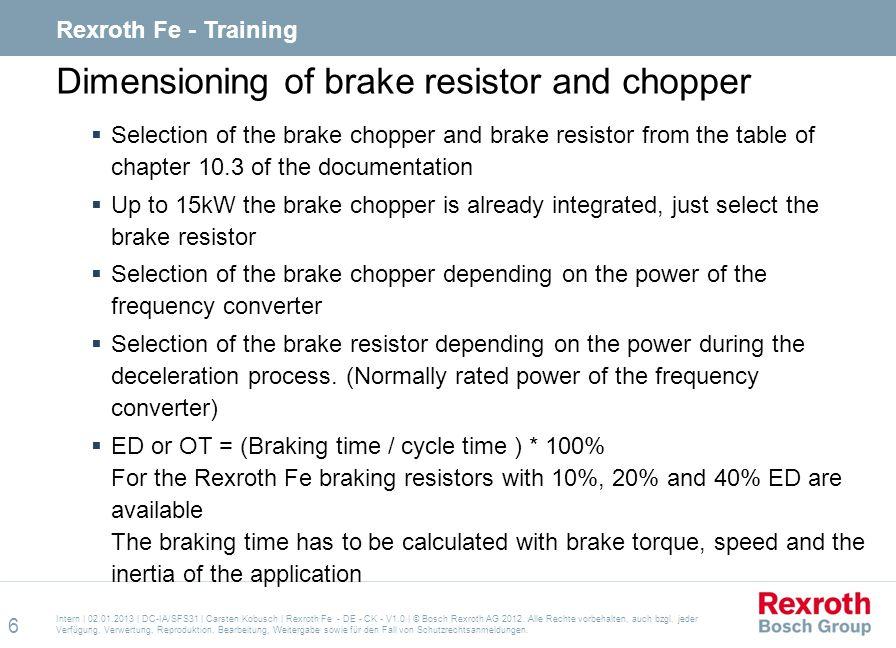 Dimensioning of brake resistor and chopper
