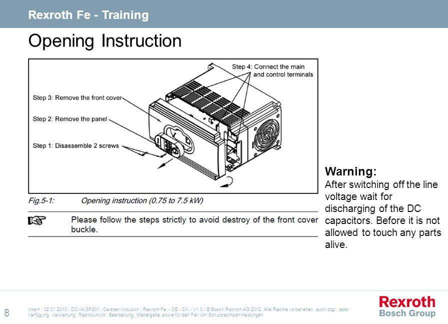 Opening Instruction Rexroth Fe - Training Warning: