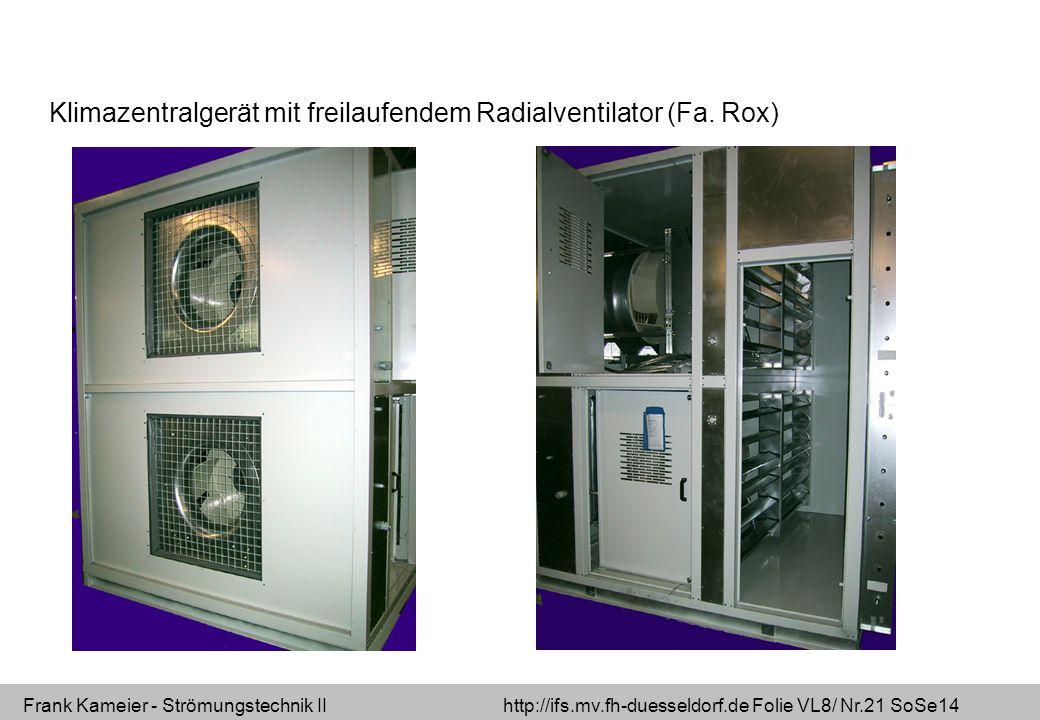 Klimazentralgerät mit freilaufendem Radialventilator (Fa. Rox)