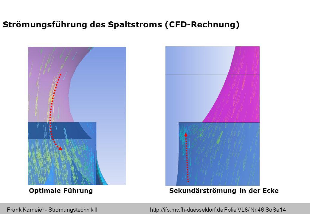 Strömungsführung des Spaltstroms (CFD-Rechnung)