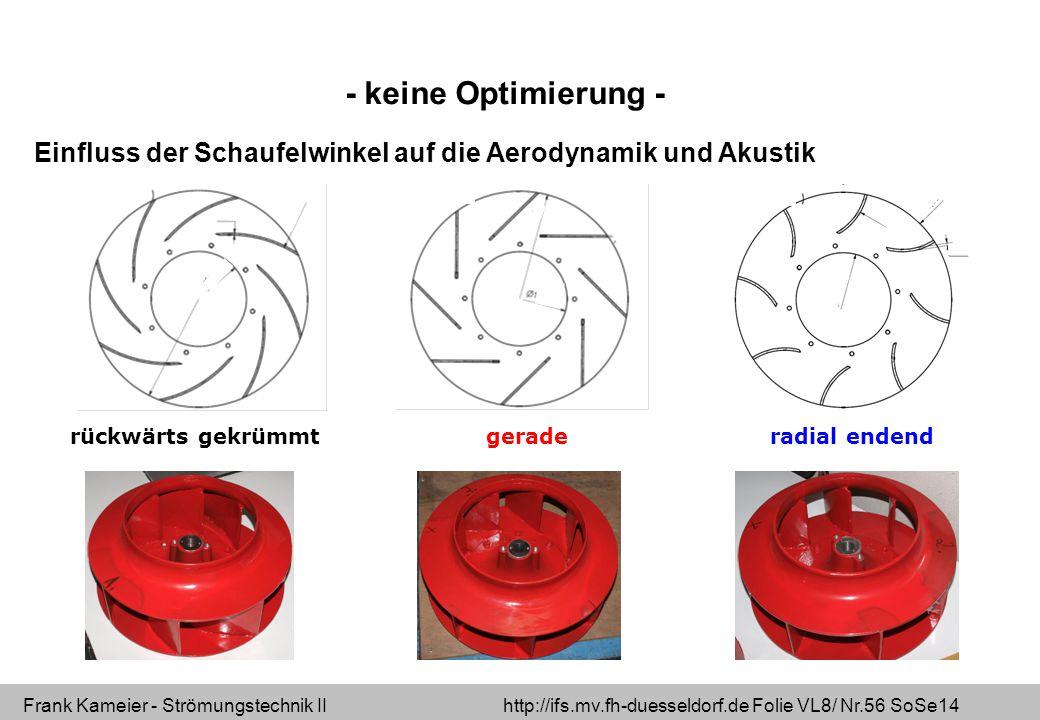 - keine Optimierung - Einfluss der Schaufelwinkel auf die Aerodynamik und Akustik. rückwärts gekrümmt.