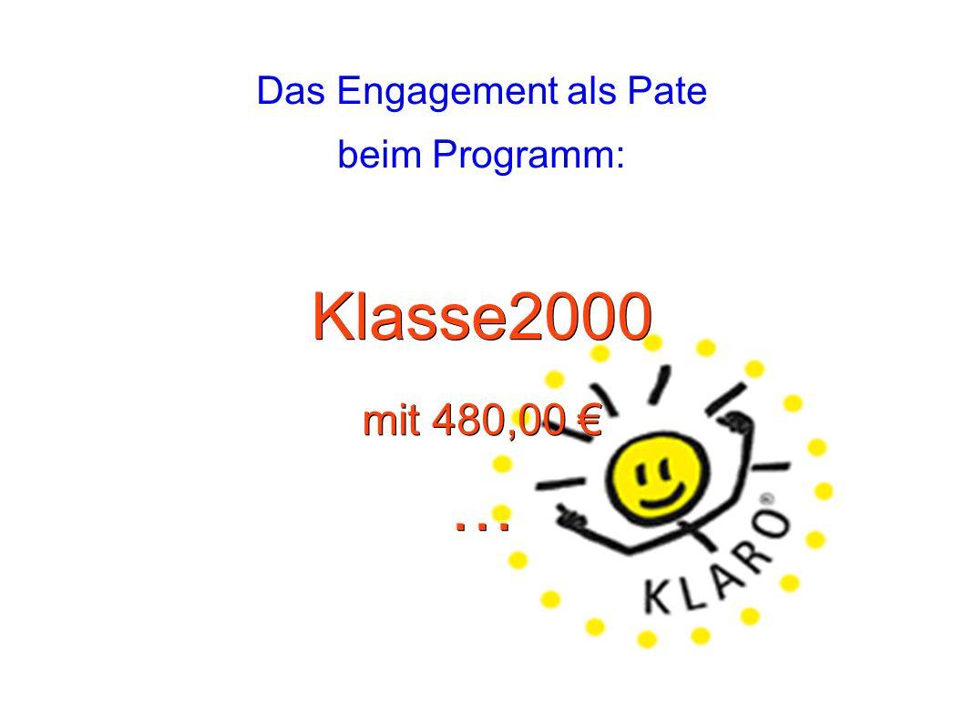 Das Engagement als Pate beim Programm: Klasse2000 mit 480,00 € …