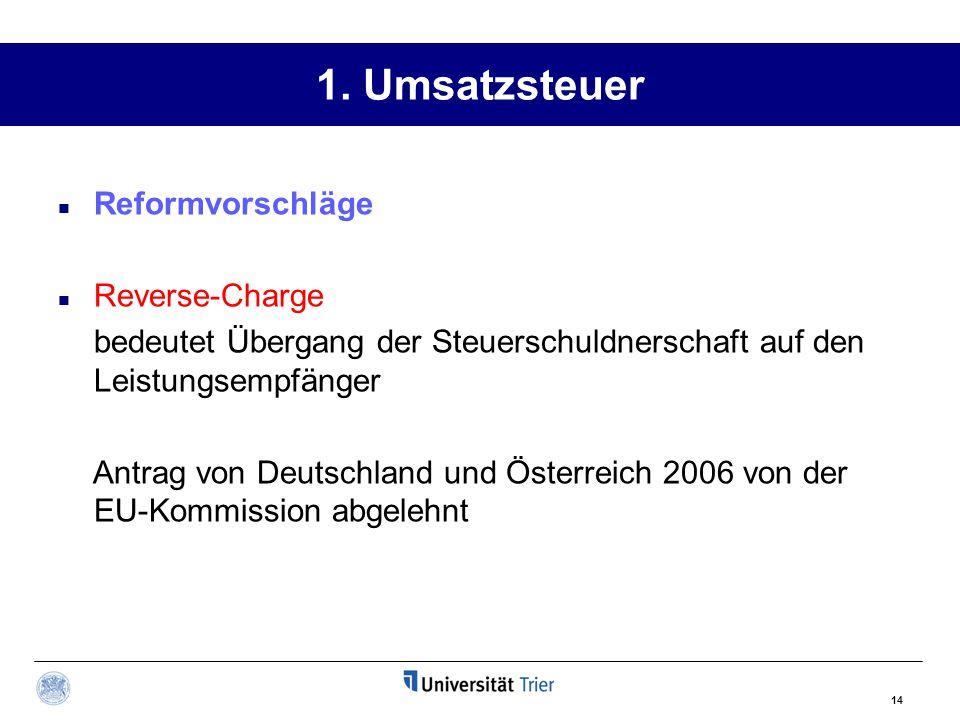 1. Umsatzsteuer Reformvorschläge Reverse-Charge