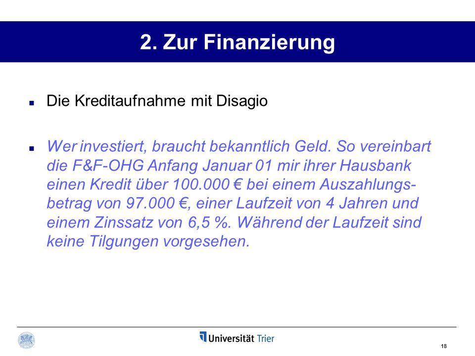 2. Zur Finanzierung Die Kreditaufnahme mit Disagio