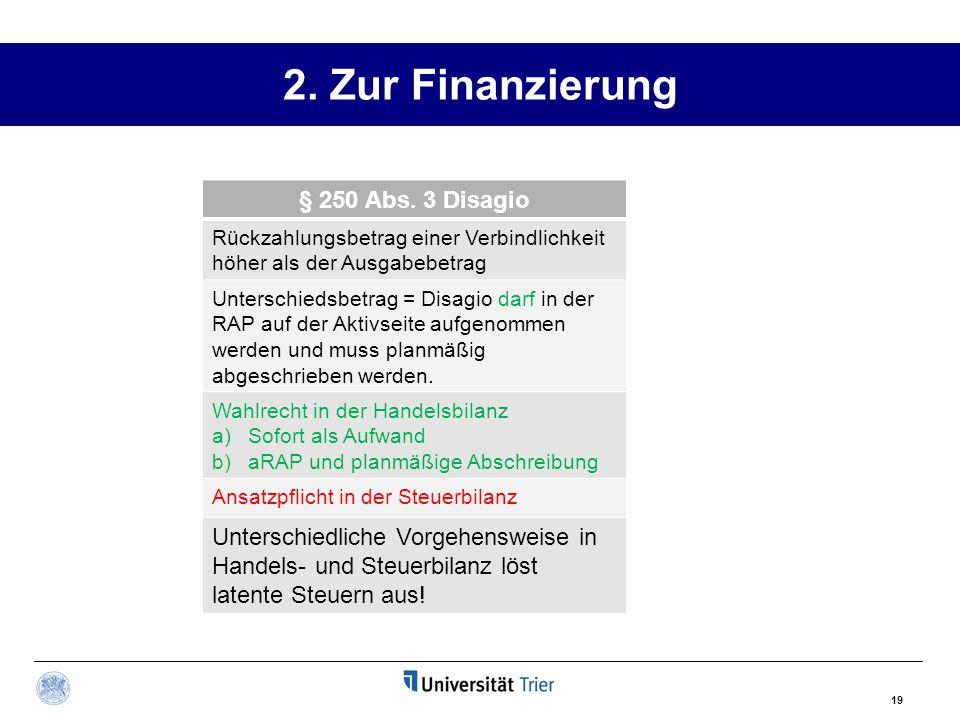 2. Zur Finanzierung § 250 Abs. 3 Disagio