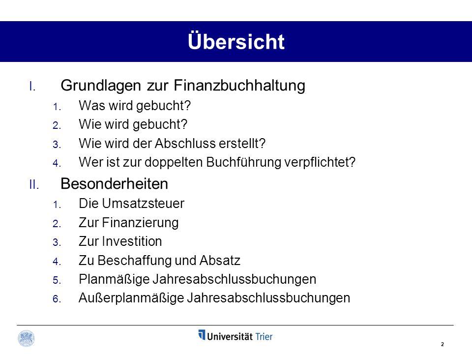 Übersicht Grundlagen zur Finanzbuchhaltung Besonderheiten