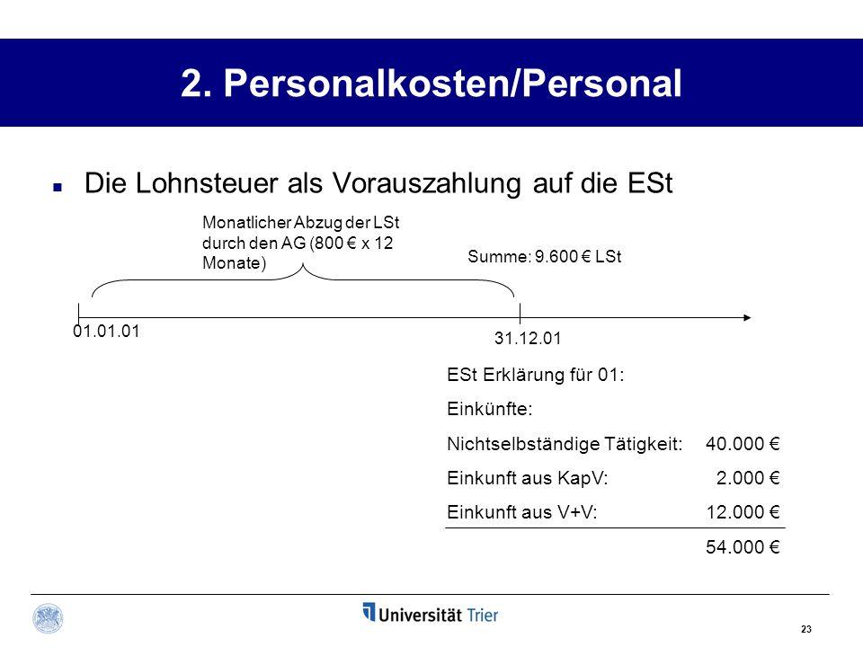2. Personalkosten/Personal