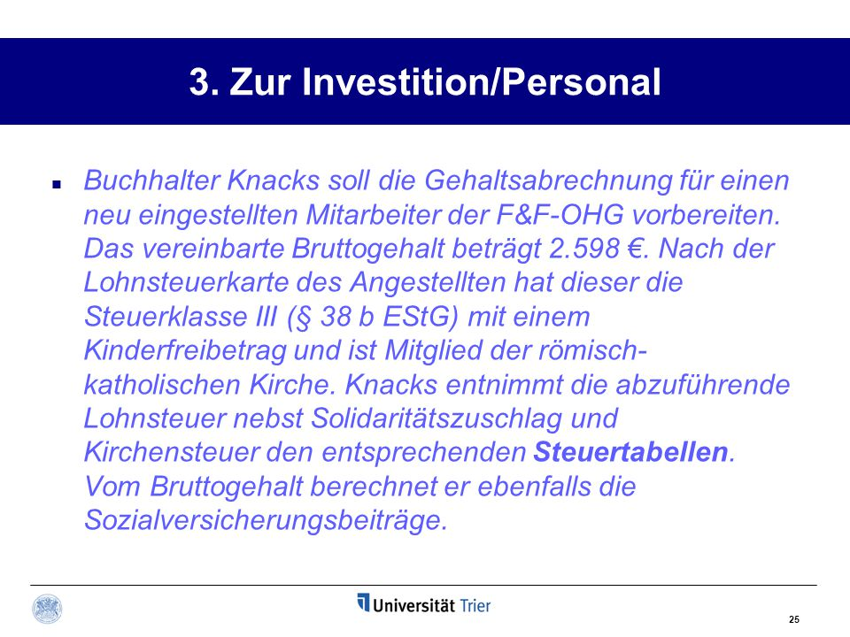 3. Zur Investition/Personal