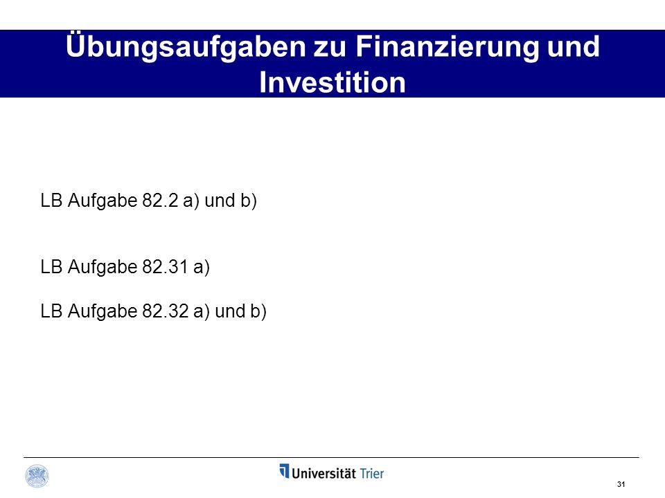 Übungsaufgaben zu Finanzierung und Investition