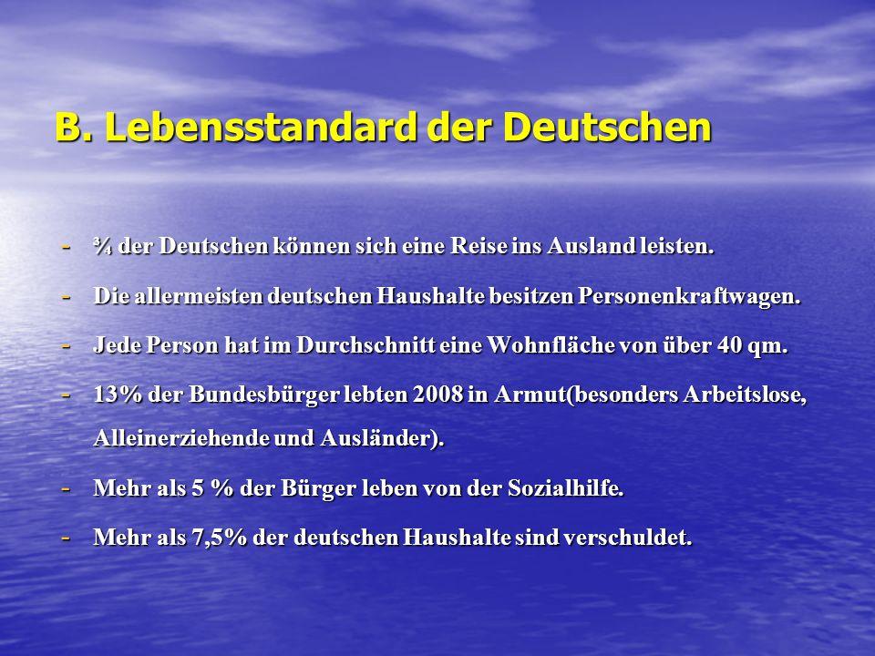 B. Lebensstandard der Deutschen