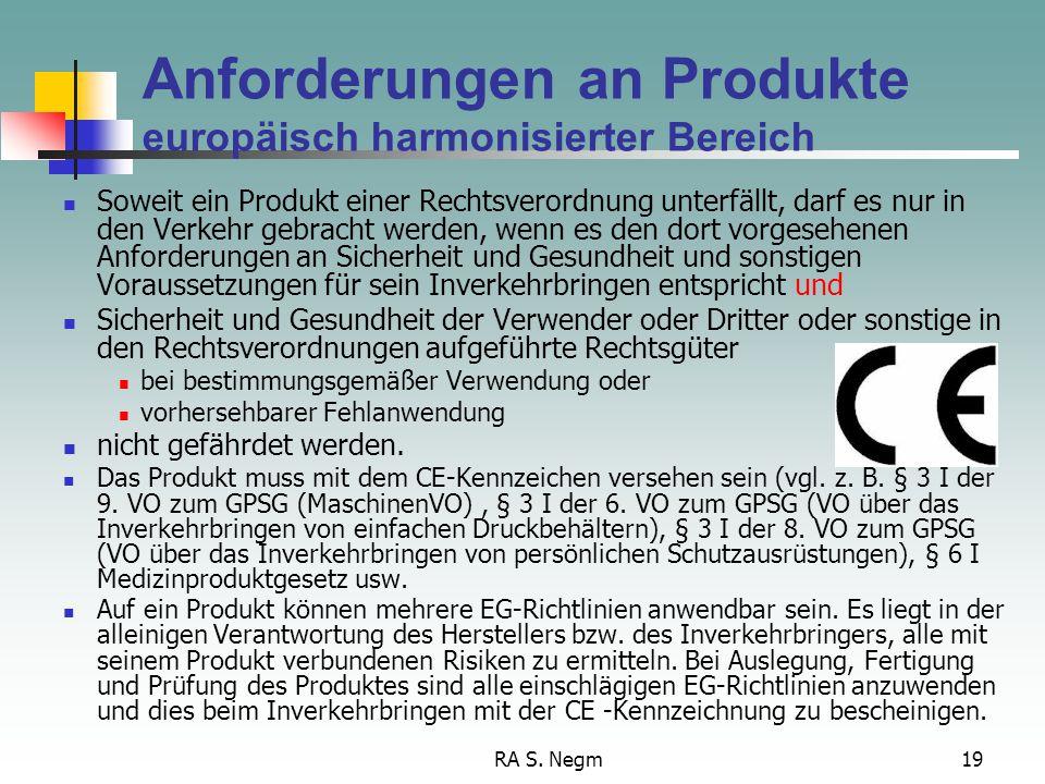 Anforderungen an Produkte europäisch harmonisierter Bereich