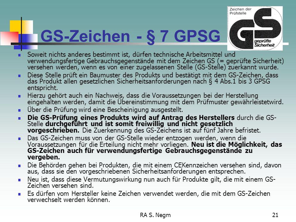GS-Zeichen - § 7 GPSG