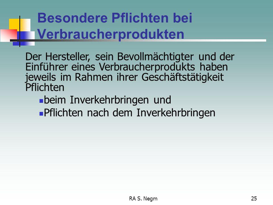 Besondere Pflichten bei Verbraucherprodukten