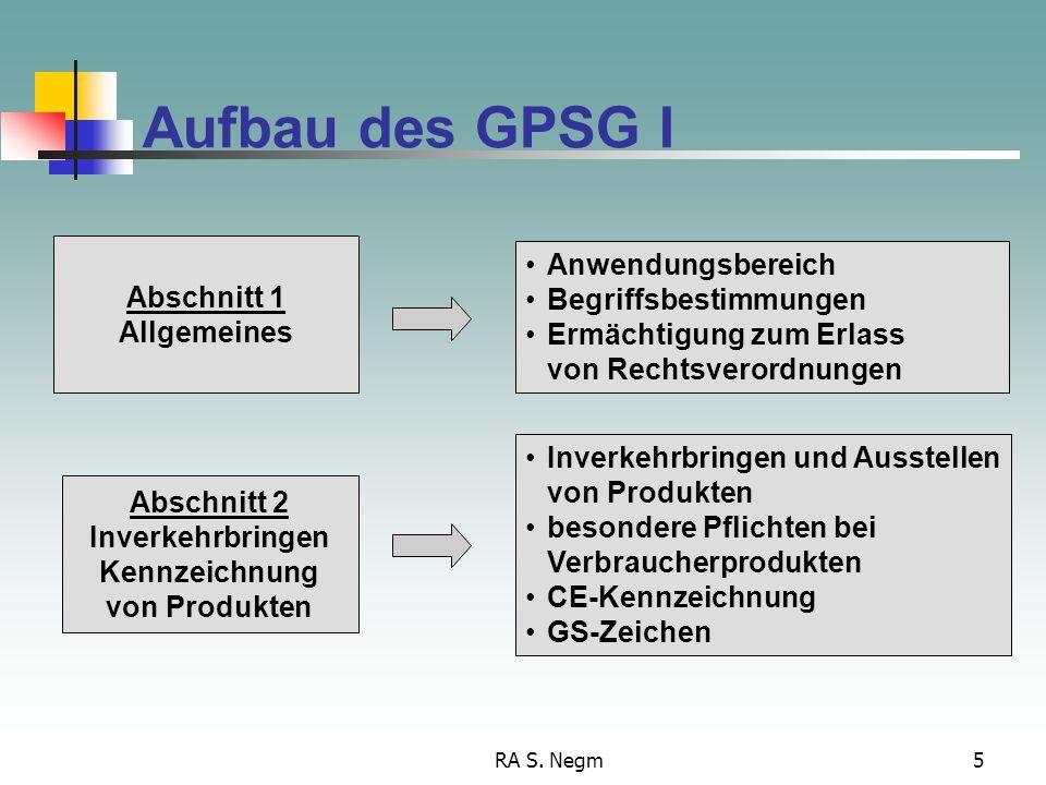 Aufbau des GPSG I Anwendungsbereich Abschnitt 1 Begriffsbestimmungen