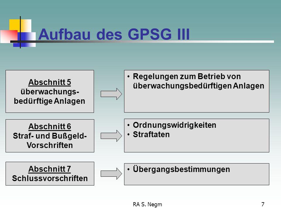 Aufbau des GPSG III Abschnitt 5. überwachungs- bedürftige Anlagen. Regelungen zum Betrieb von überwachungsbedürftigen Anlagen.