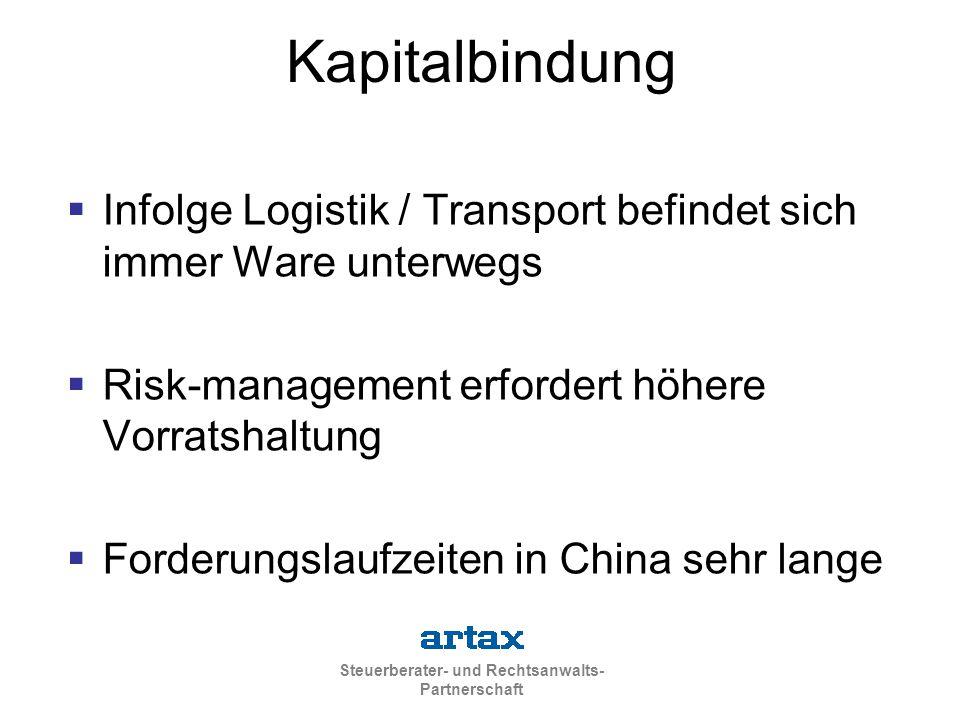 Kapitalbindung Infolge Logistik / Transport befindet sich immer Ware unterwegs. Risk-management erfordert höhere Vorratshaltung.