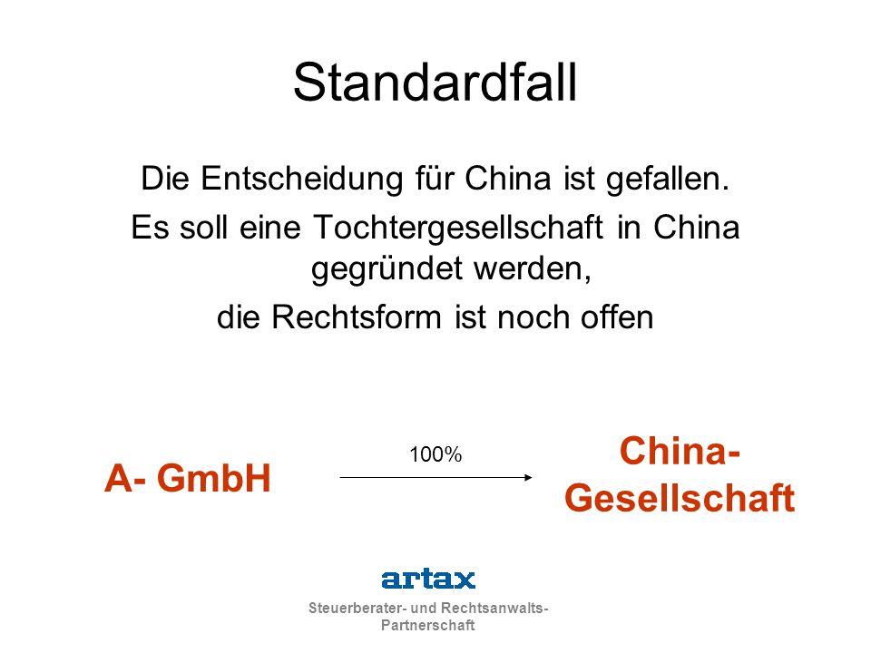 Standardfall China- Gesellschaft A- GmbH
