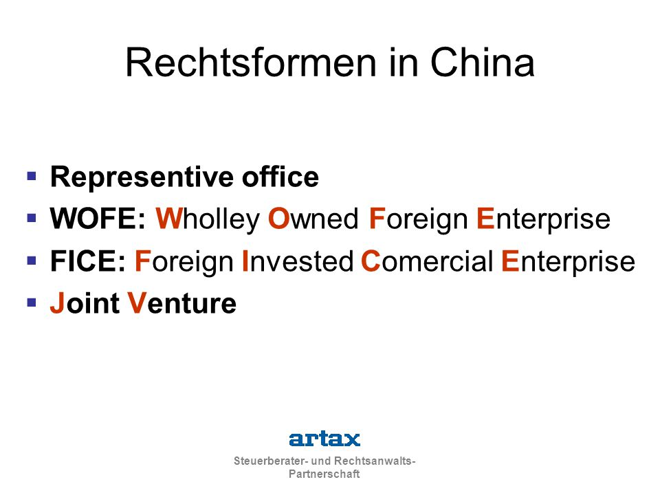 Rechtsformen in China Representive office