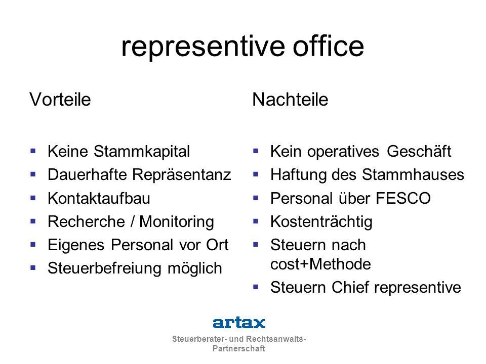 representive office Vorteile Nachteile Keine Stammkapital
