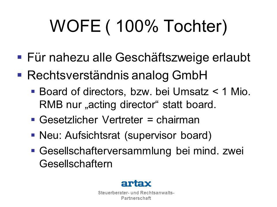 WOFE ( 100% Tochter) Für nahezu alle Geschäftszweige erlaubt