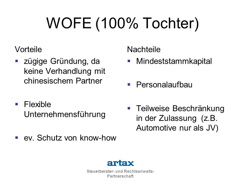 WOFE (100% Tochter) Vorteile
