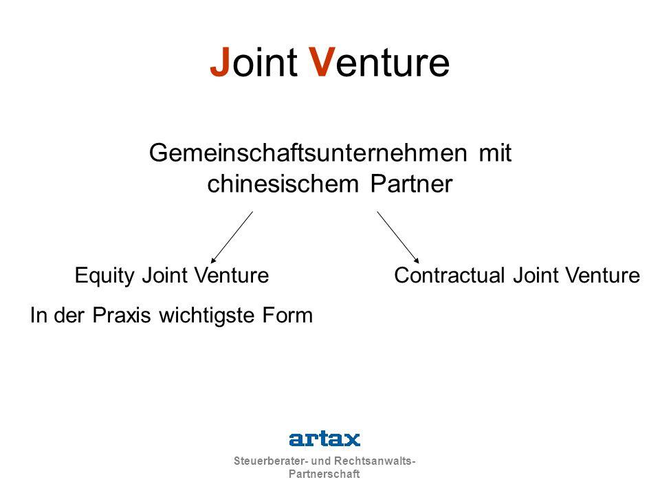 Joint Venture Gemeinschaftsunternehmen mit chinesischem Partner