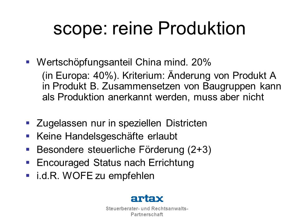 scope: reine Produktion