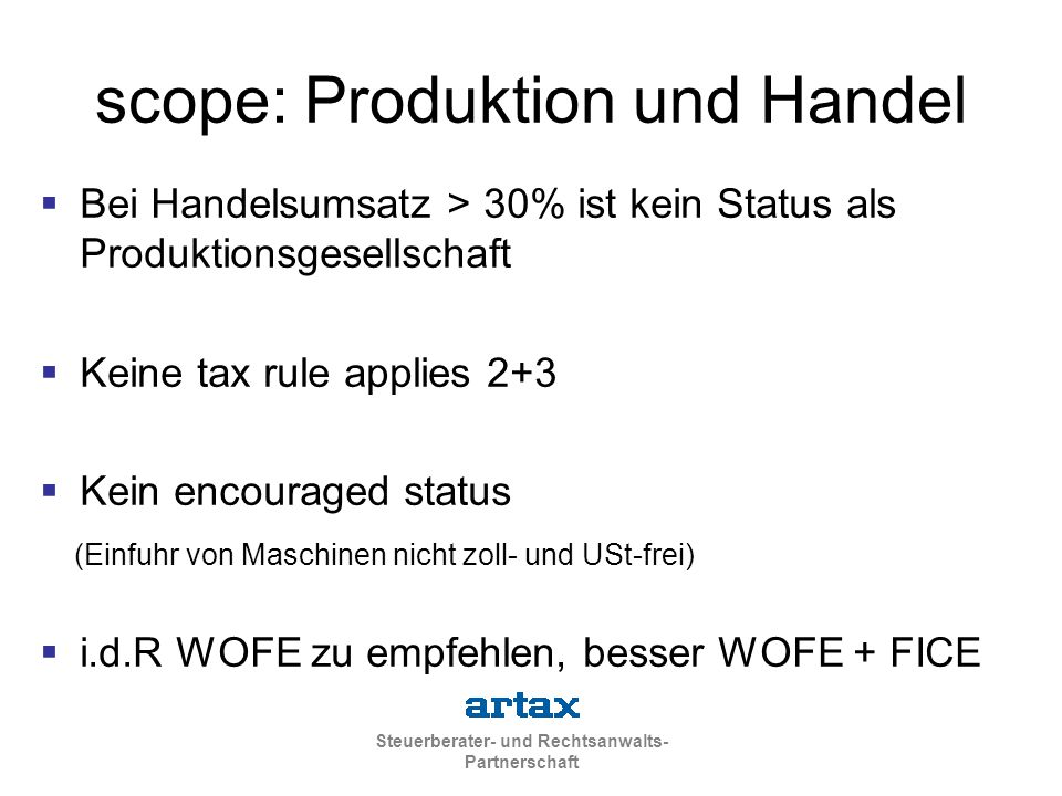 scope: Produktion und Handel
