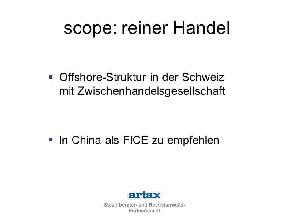 scope: reiner Handel Offshore-Struktur in der Schweiz mit Zwischenhandelsgesellschaft.