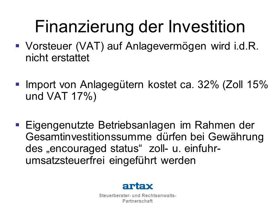 Finanzierung der Investition