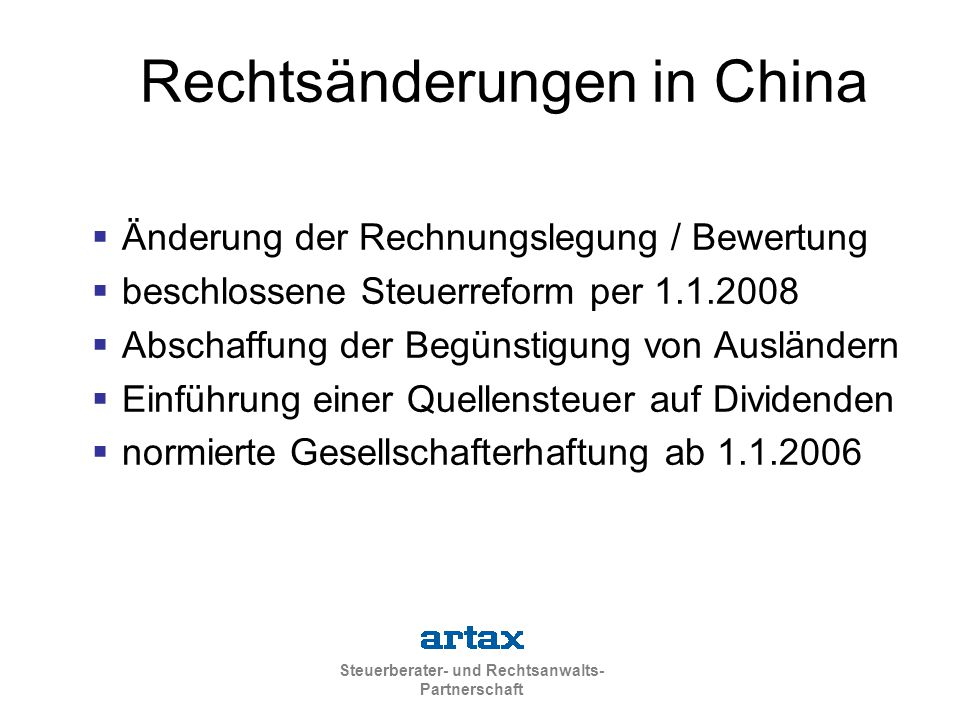 Rechtsänderungen in China