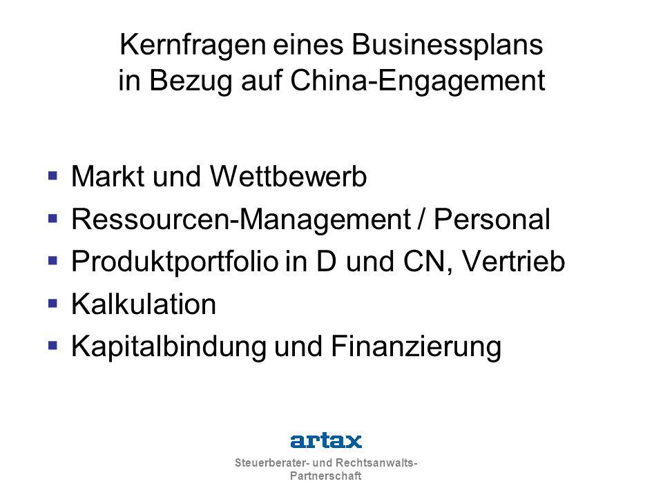 Kernfragen eines Businessplans in Bezug auf China-Engagement