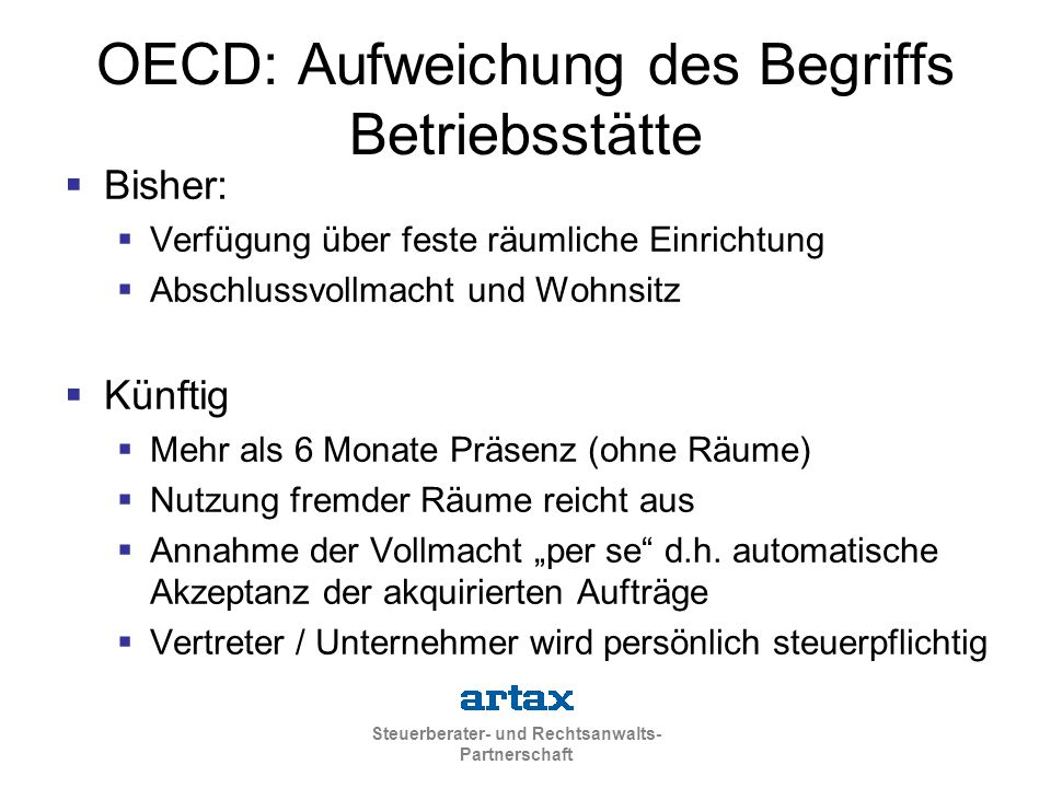 OECD: Aufweichung des Begriffs Betriebsstätte