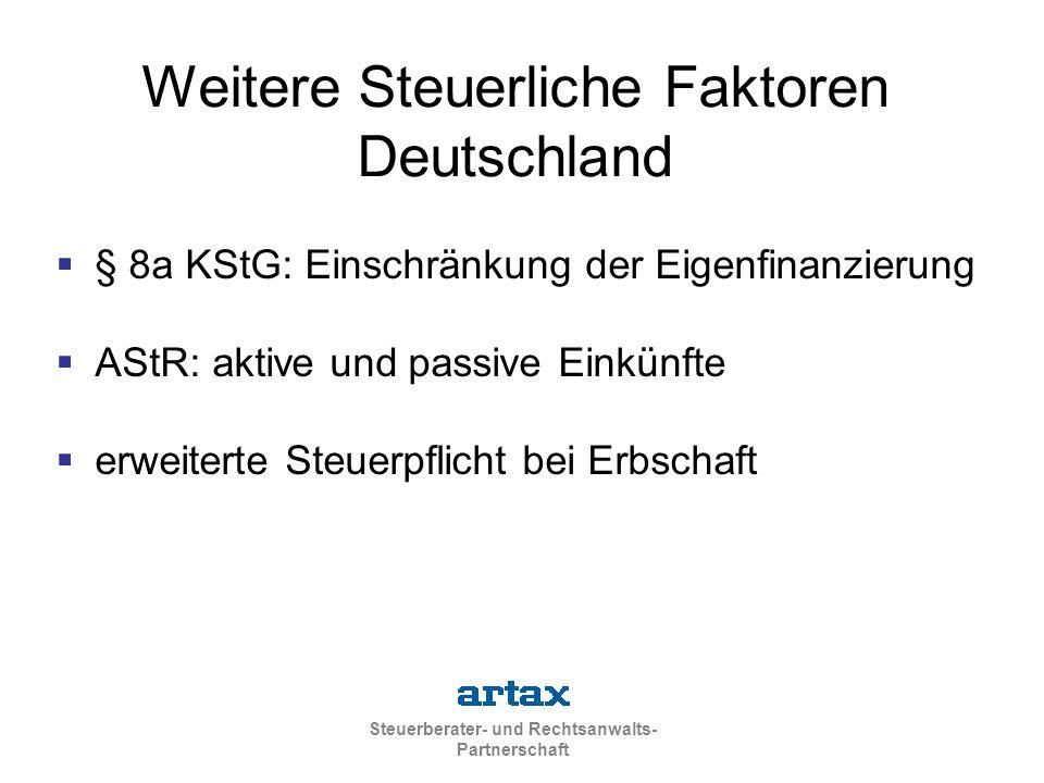 Weitere Steuerliche Faktoren Deutschland