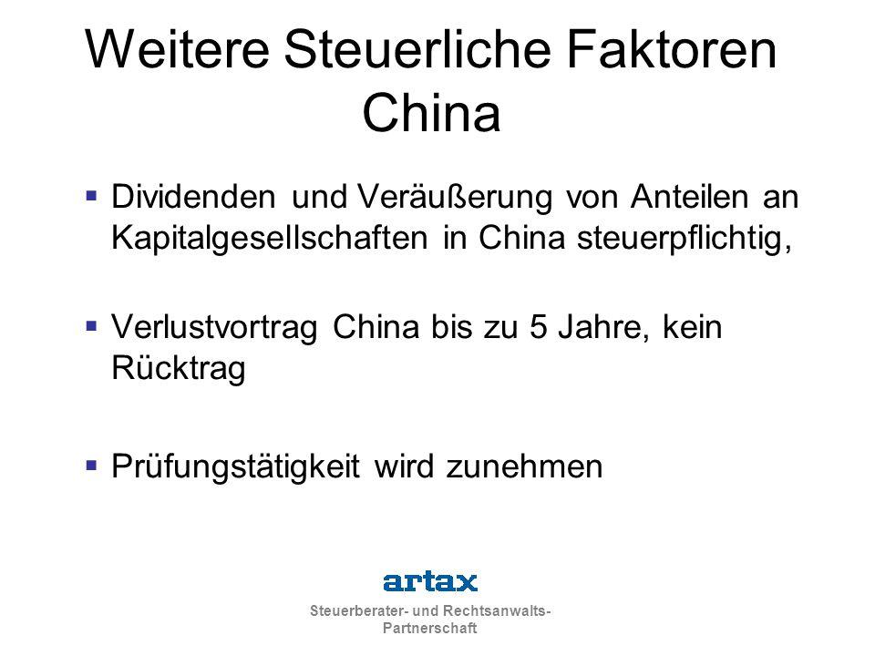 Weitere Steuerliche Faktoren China