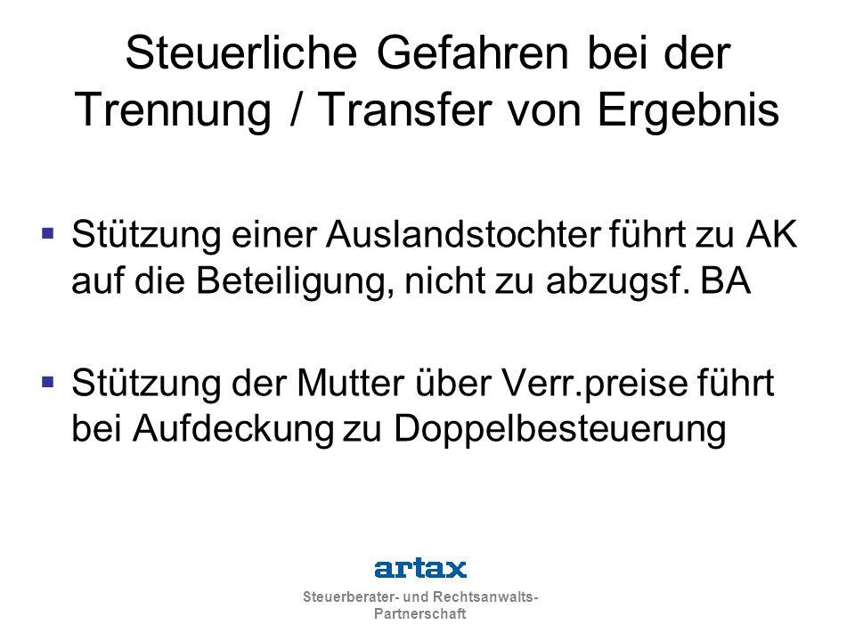 Steuerliche Gefahren bei der Trennung / Transfer von Ergebnis