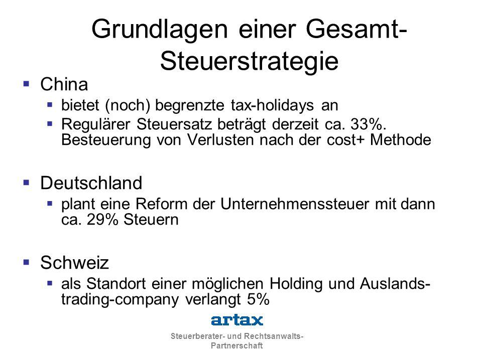 Grundlagen einer Gesamt-Steuerstrategie
