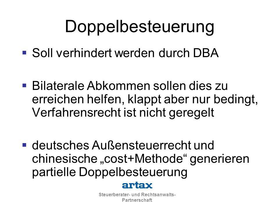 Doppelbesteuerung Soll verhindert werden durch DBA